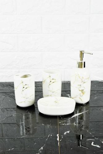 - Sıvı Sabunluk Seti Mermer Desen Oval