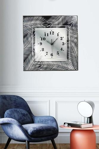 - Siyah-Beyaz Yaprak Desen Duvar Saati