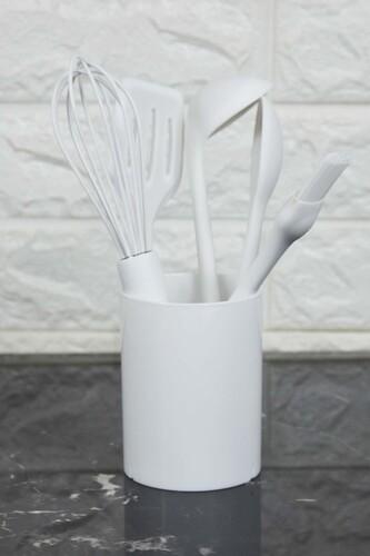 - Standlı 6 Parça Silikon Mutfak Seti Beyaz