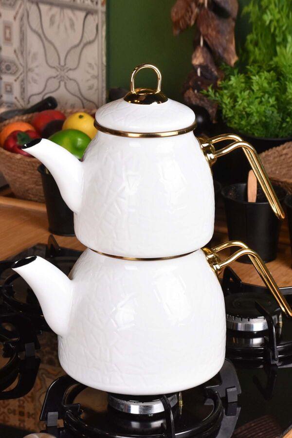 Sultan - Rölyefli Çaydanlık Takımı Beyaz