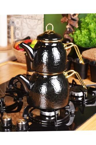 - Sultan - Rölyefli Çaydanlık Takımı Siyah