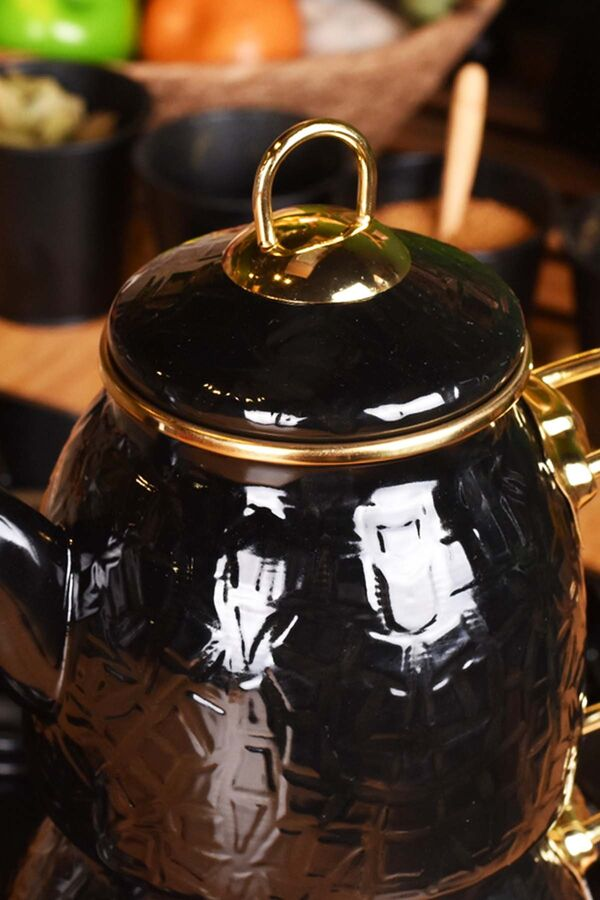 Sultan - Rölyefli Çaydanlık Takımı Siyah
