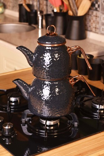 - Sultan - Rölyefli Çaydanlık Takımı Gri