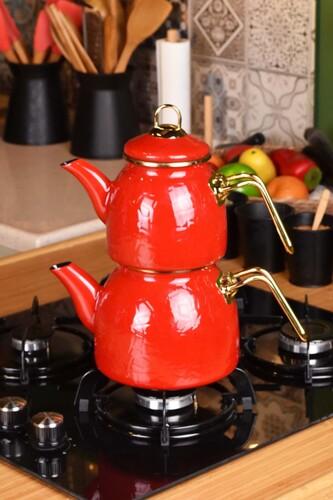 - Sultan - Rölyefli Çaydanlık Takımı Kırmızı