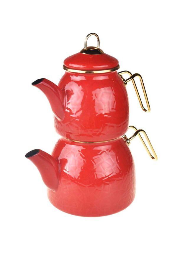 Sultan - Rölyefli Çaydanlık Takımı Kırmızı