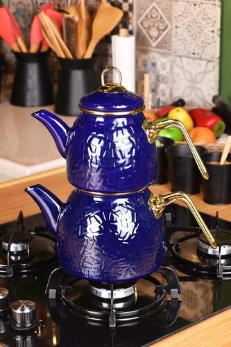 - Sultan - Rölyefli Çaydanlık Takımı Lacivert