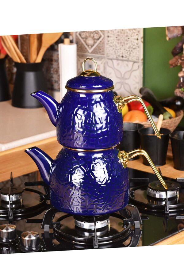 Sultan - Rölyefli Çaydanlık Takımı Lacivert