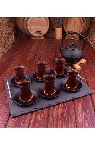- Sumara Fix - 12 Parça Metal Altlıklı Çay Seti