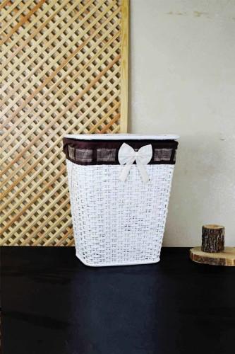 - Tekli Beyaz Çamaşır Sepeti