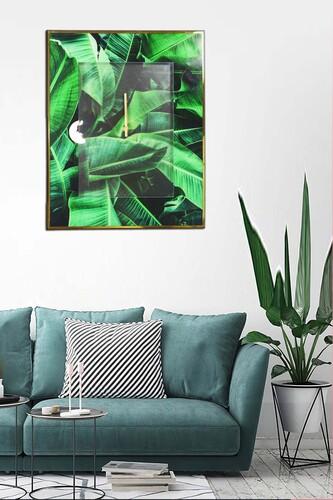 - Vitray Gold-Yeşil Duvar Saati 50x40 Cm