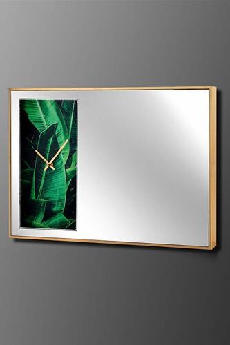 - Vitray Gold-Yeşil Duvar Saati 60x40 Cm
