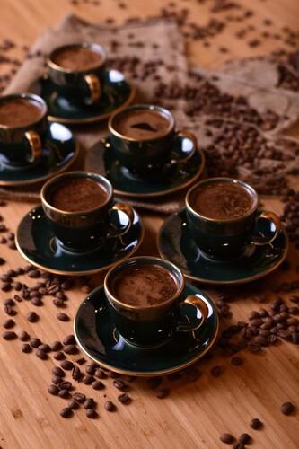 - Zümrüt 6 Kişilik Kahve Fincan Takımı